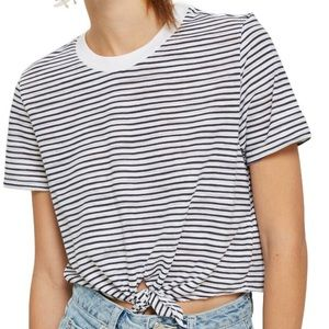 NWT TOPSHOP Front Tie Striped Tee!